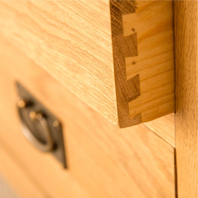 Lanner Oak Combination Wardrobe drawer dovetail joint view