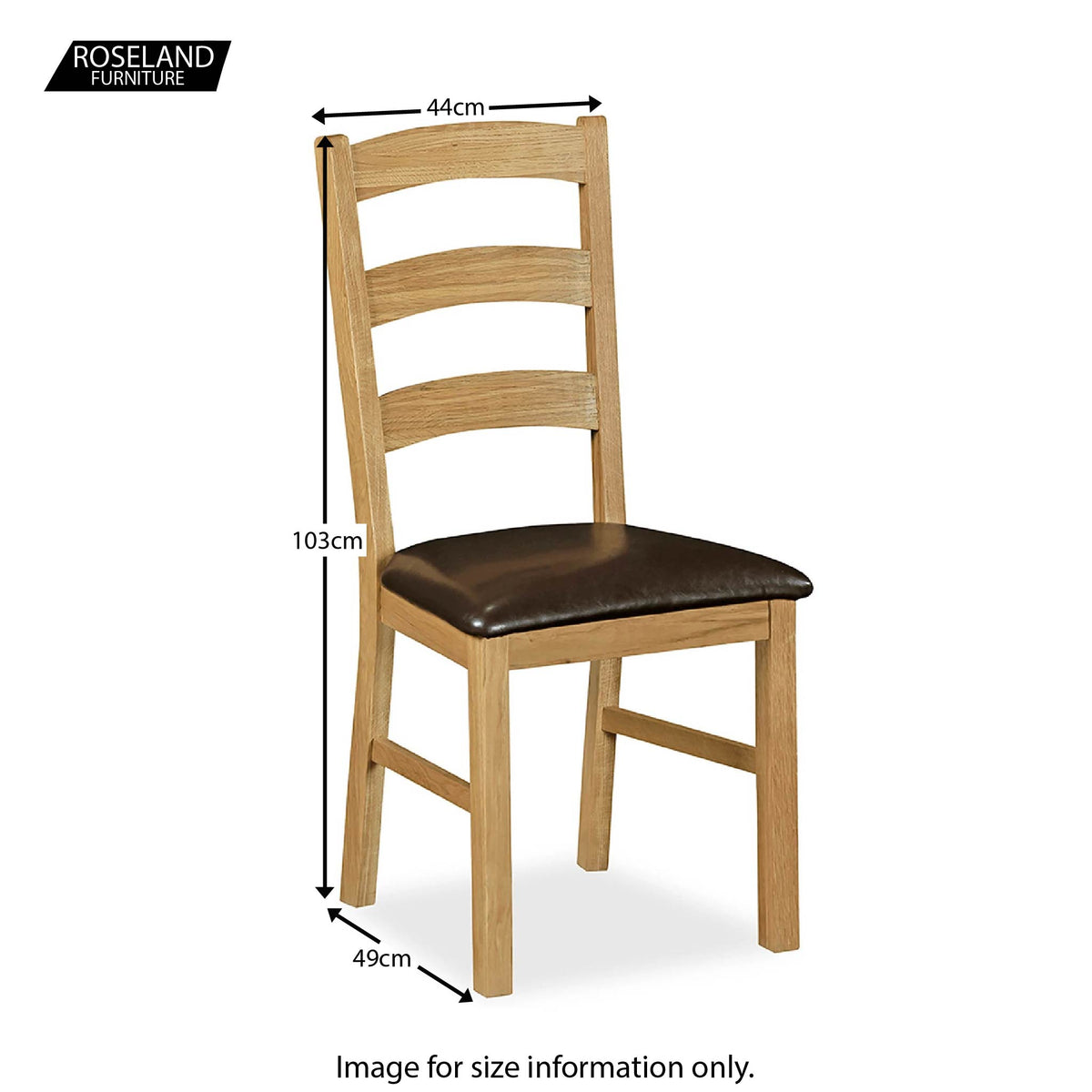 Lanner Oak Dining Chair - Size Guide