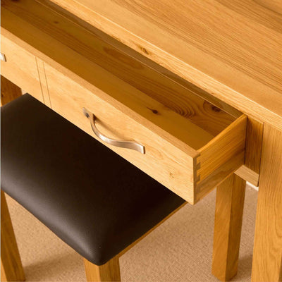 Drawer and stool closeup - Newlyn Oak Dressing Table Set