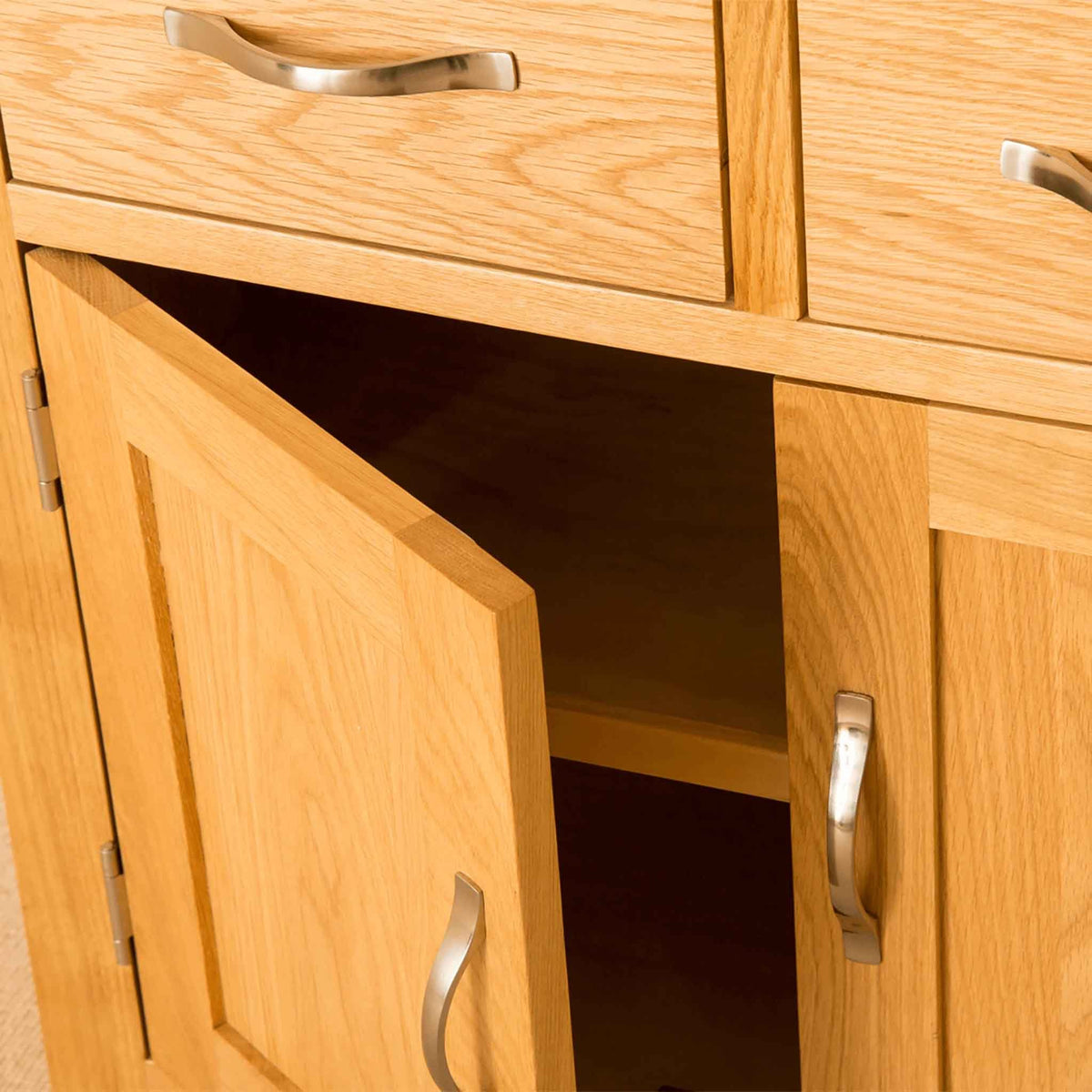 Close up of front - Newlyn Oak Mini Sideboard