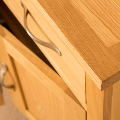 Top corner of Newlyn Oak Mini Sideboard