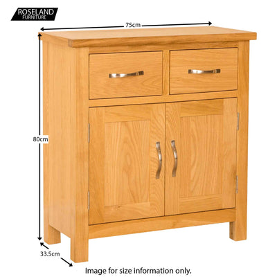 Newlyn Oak Mini Sideboard  - Size Guide