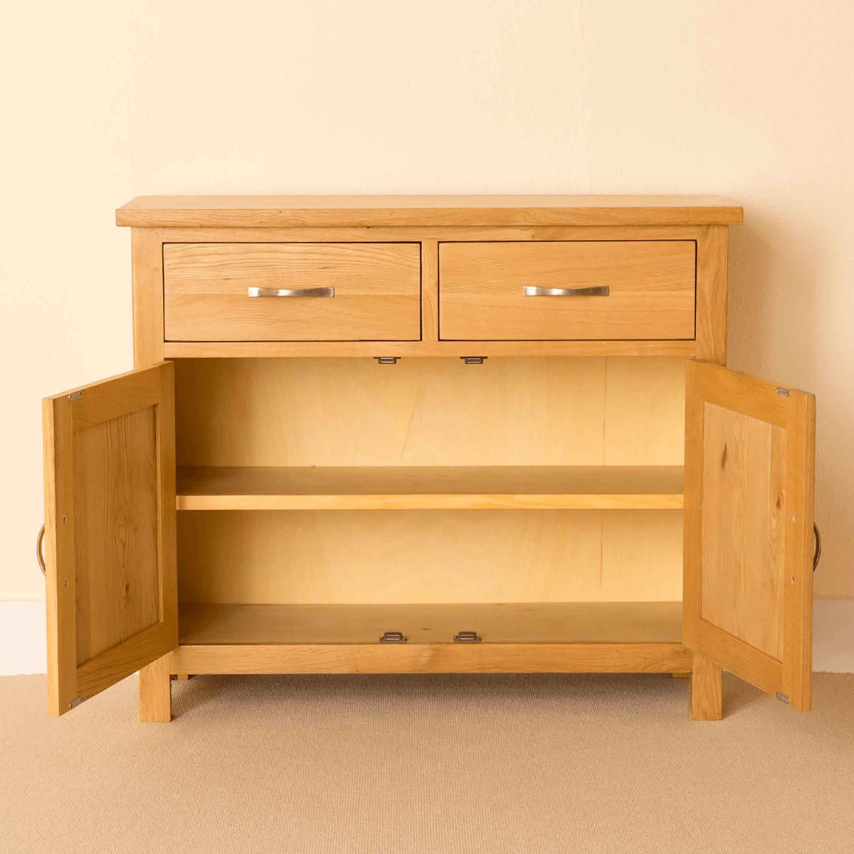 Newlyn Oak Small Sideboard with doors open