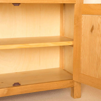 Inside view of Newlyn Oak Small Sideboard