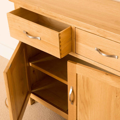 Drawer and door open - Newlyn Oak Small Sideboard