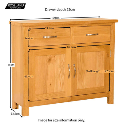 Newlyn Oak Small Sideboard - Size Guide