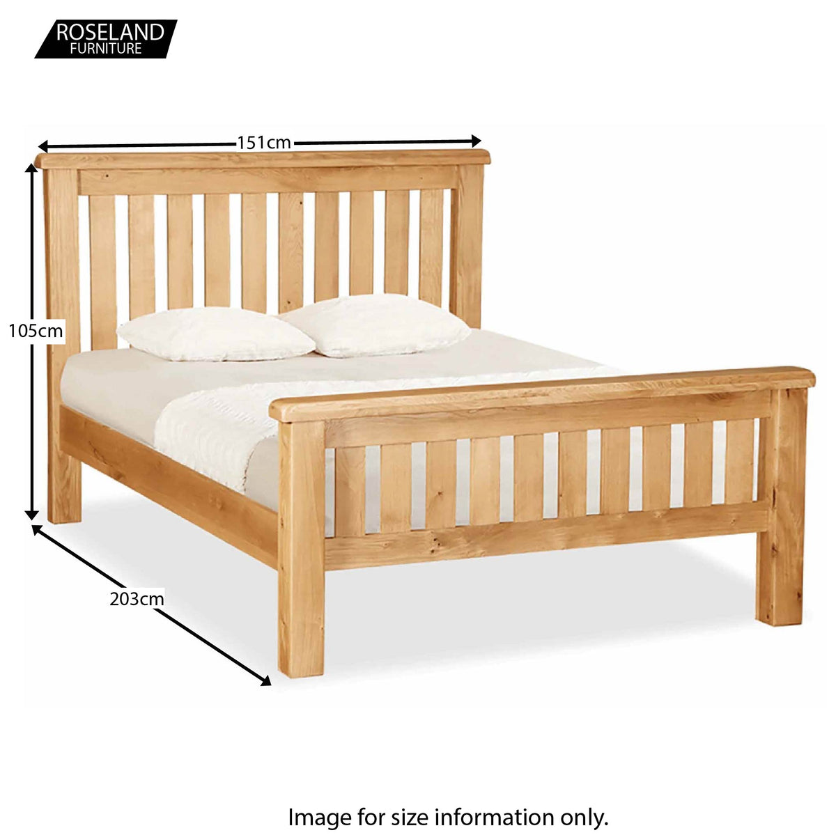 Zelah Oak Slatted 4'6 Double Bed - Size Guide