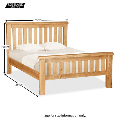 Zelah Oak Slatted 5' King Size Bed Frame - Size Guide