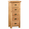 Zelah Oak 5 Drawer Tallboy Chest by Roseland Furniture