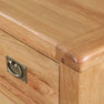 Top corner of Zelah Oak 5 Drawer Tallboy Chest