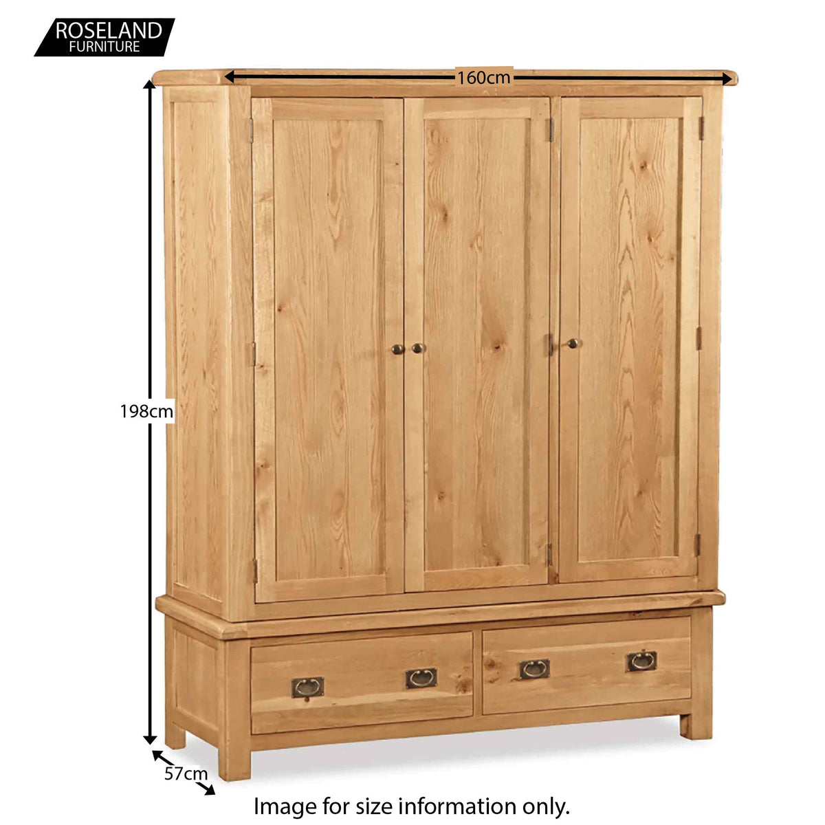 Zelah Oak Triple Wardrobe with Drawers - Size Guide