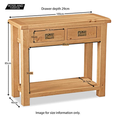Zelah Oak Console Table - Size Guide