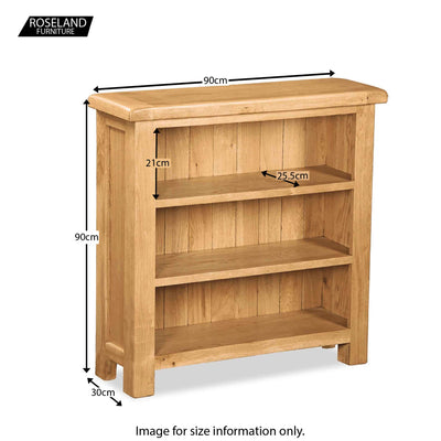 Zelah Oak Small Bookcase - Size Guide