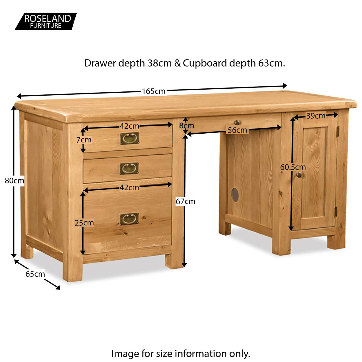Zelah Oak Large Desk - Size Guide