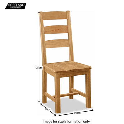 Zelah Oak Slatted Back Dining Chair - Size Guide