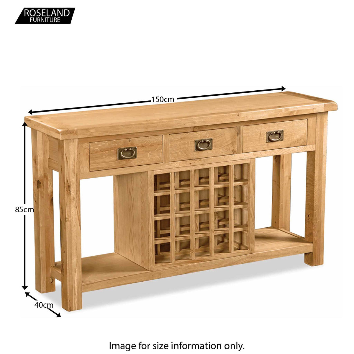 Zelah Oak Open Sideboard - Size Guide