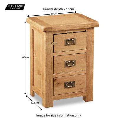 Zelah Oak Wide Bedside Table - Size Guide