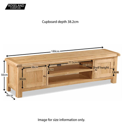 Zelah Oak 180cm TV Stand - Size Guide
