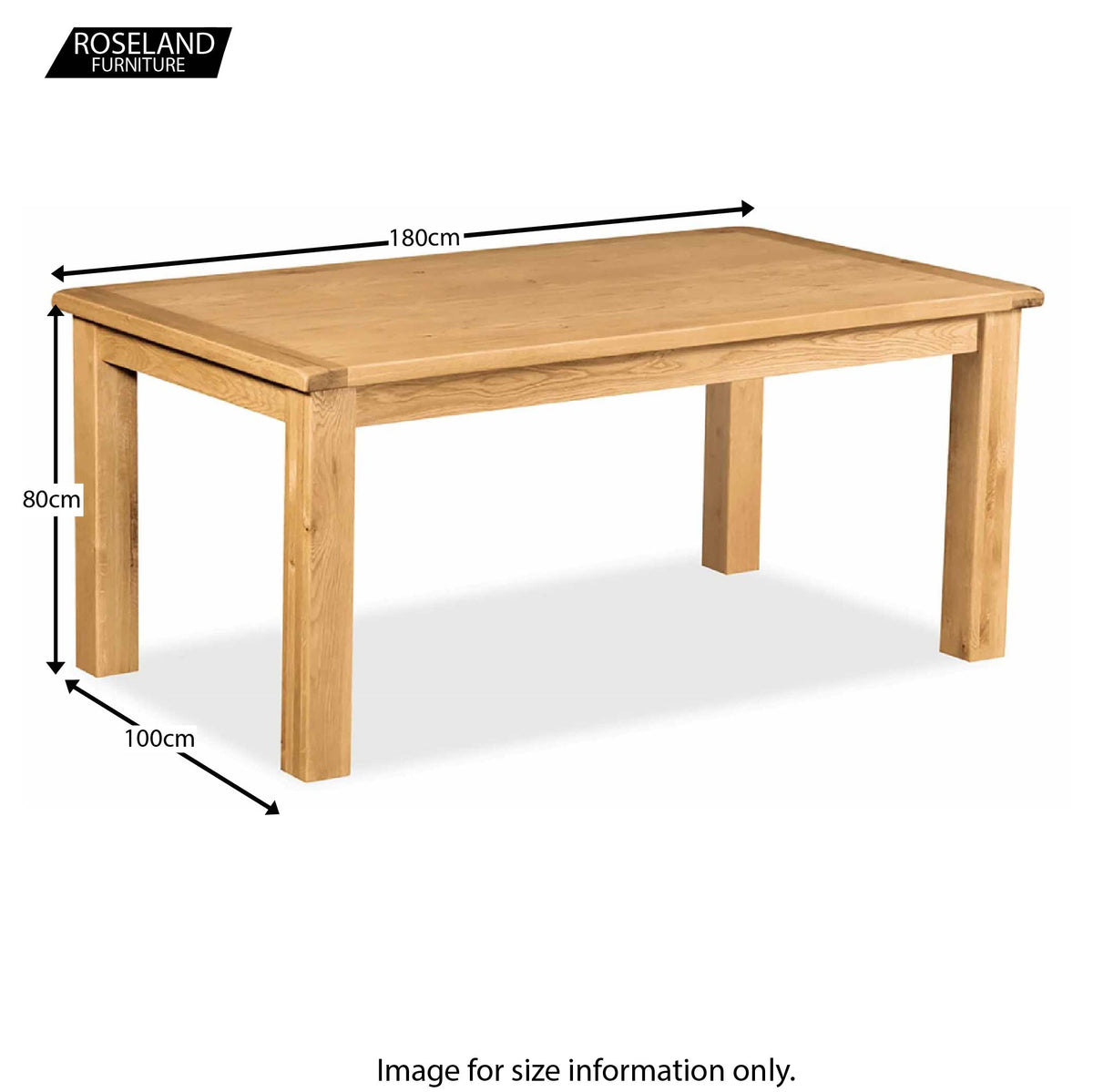 Zelah Oak 180cm Dining Table - Size Guide