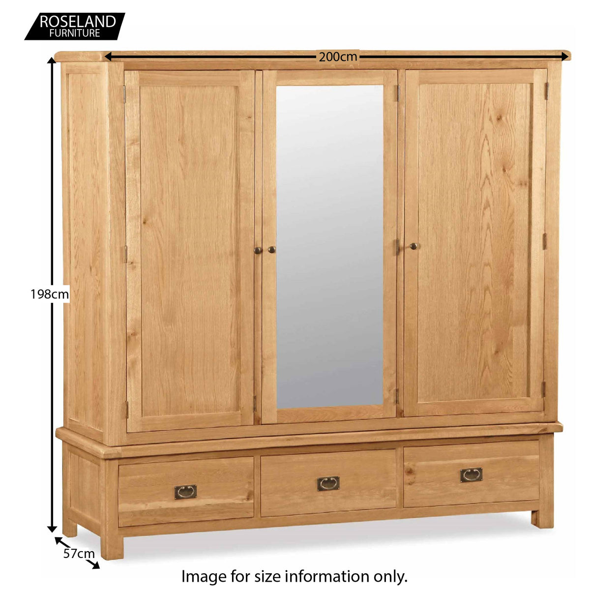 Zelah Oak Large Triple Wardrobe with Drawers - Size Guide