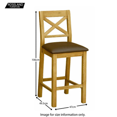 Zelah Oak Bar Stool - Size Guide