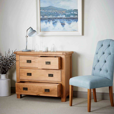 Zelah Oak 2 over 2 Drawer Chest with drawers open
