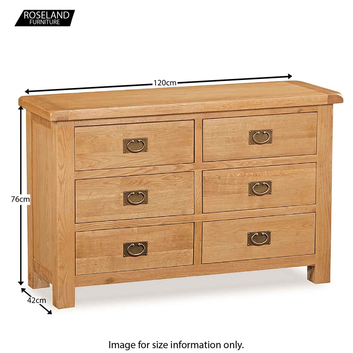 Zelah Oak 3+3 Drawer Chest of Drawers - Size Guide