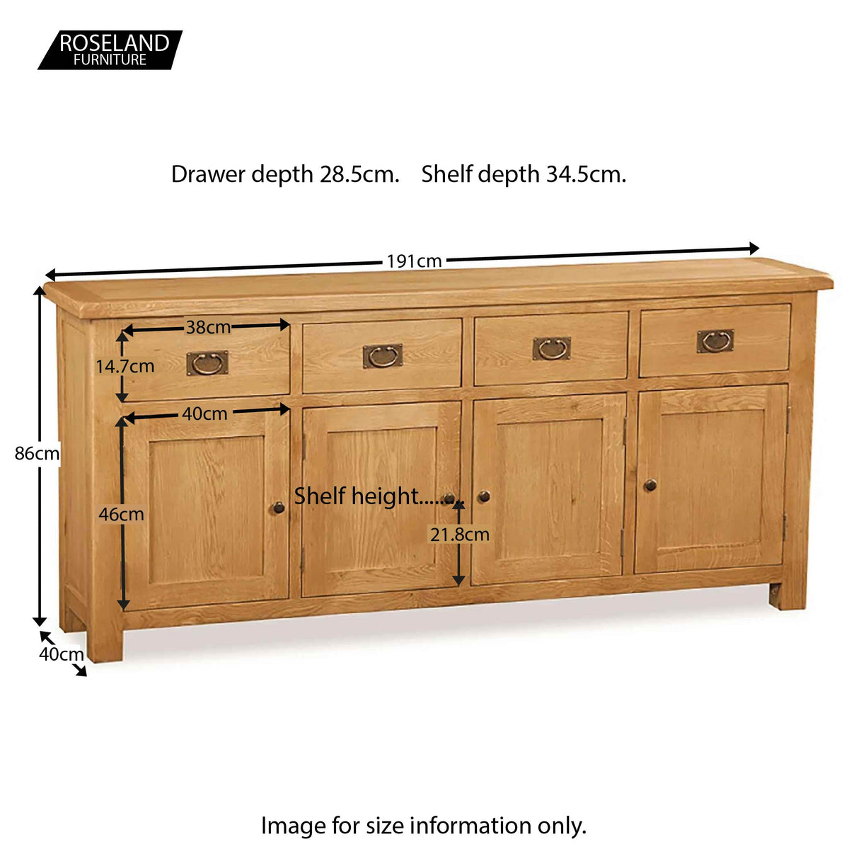 Zelah Oak Extra Large Sideboard - Size Guide