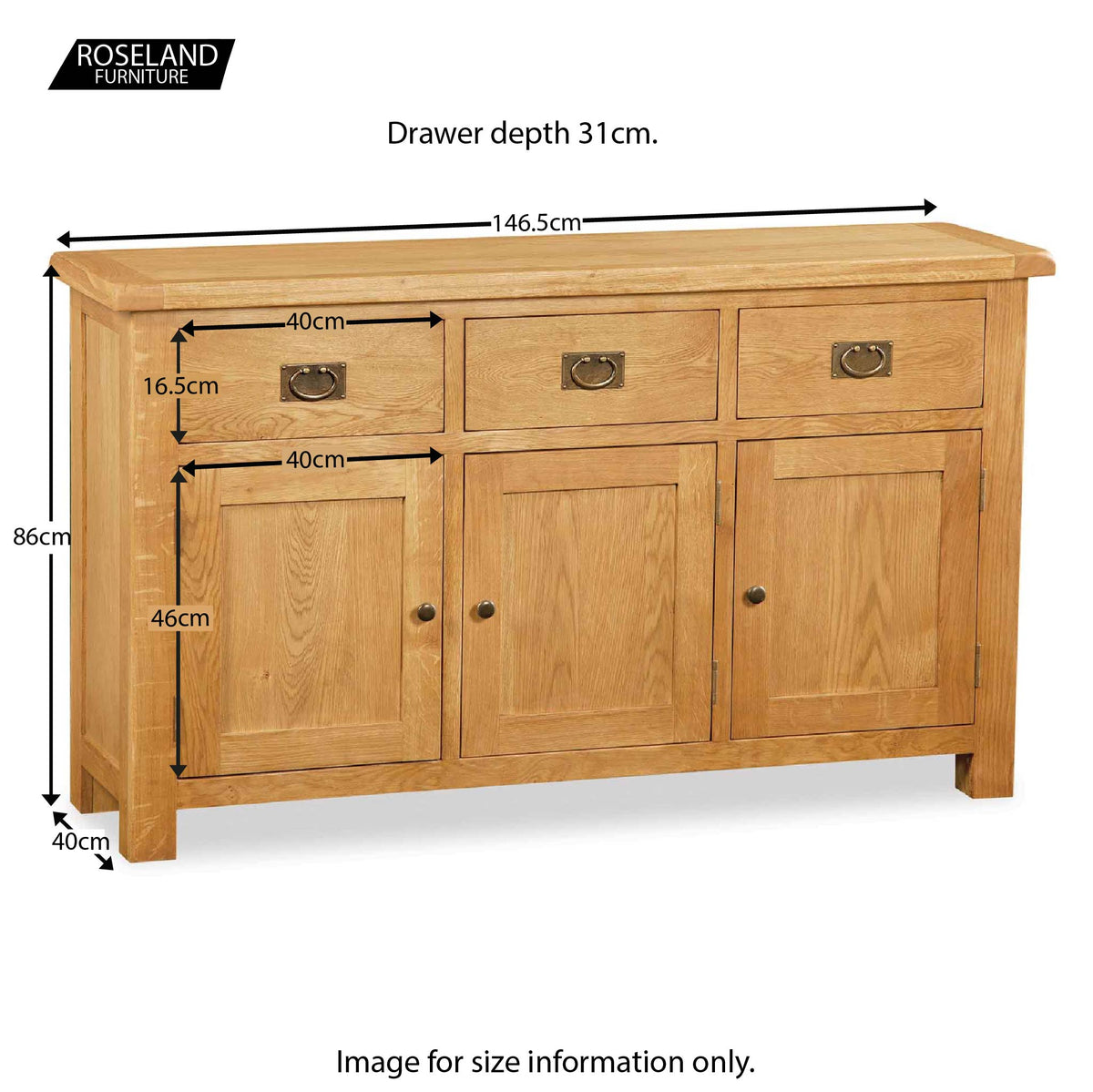 Zelah Oak Large Sideboard - Size Guide