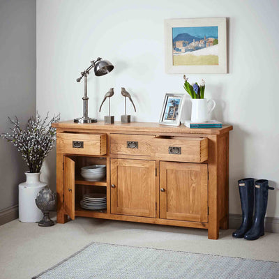 Zelah Oak Large Sideboard with drawer and cupboard open