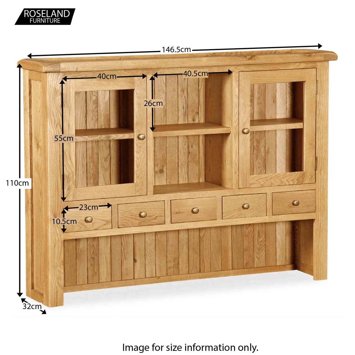 Zelah Oak Large Sideboard Hutch - Size Guide