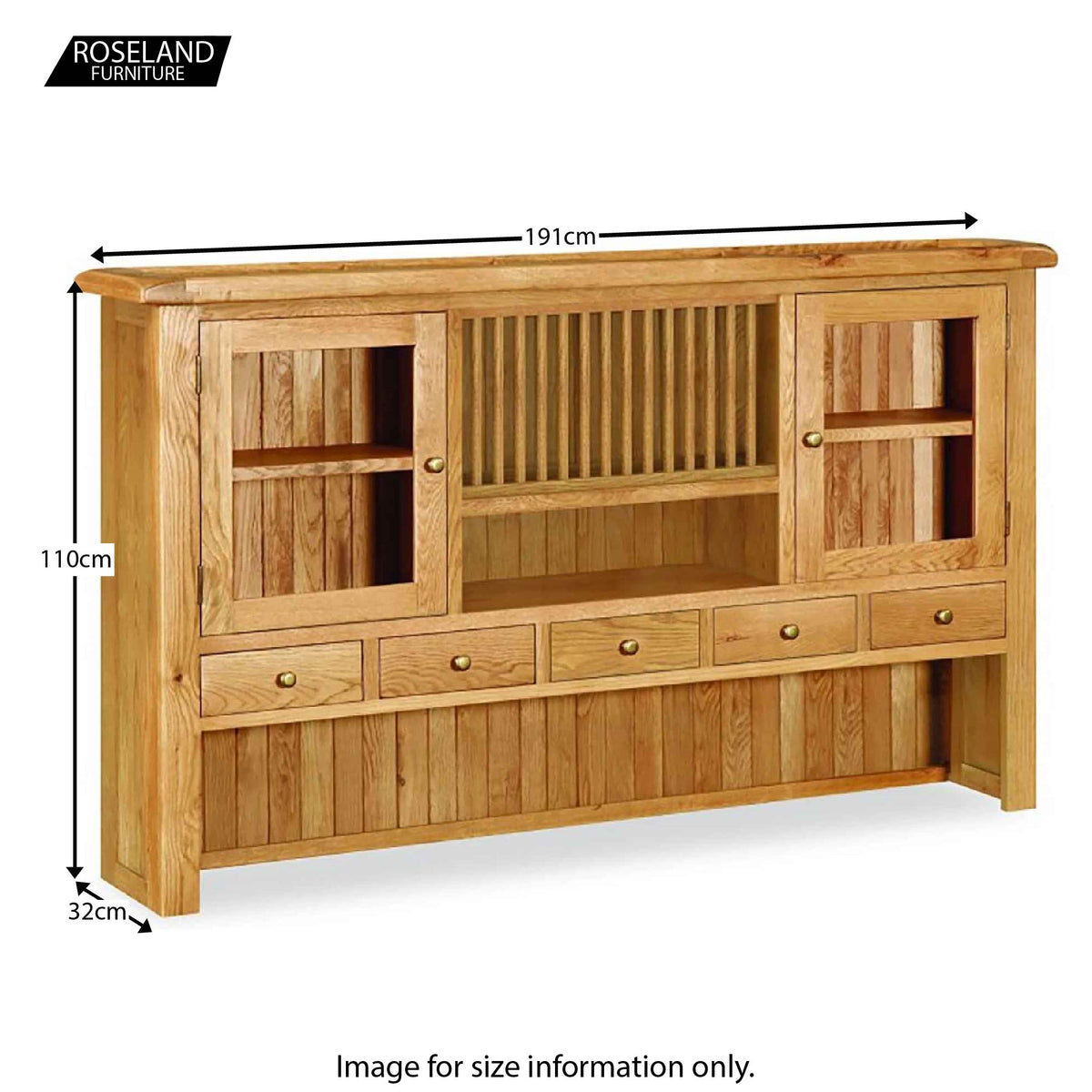 Zelah Oak Extra Large Sideboard Hutch - Size Guide