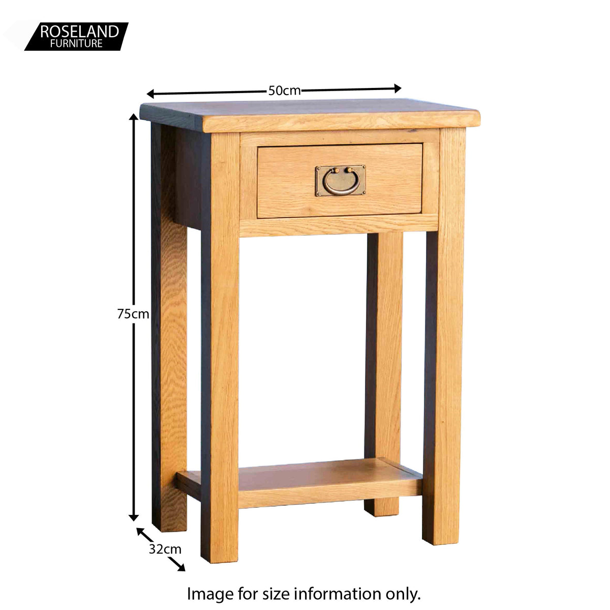 Surrey Oak Telephone Table - Size Guide