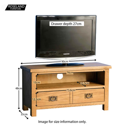 Surrey Oak TV stand 90cm - Size guide