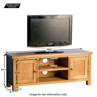 Surrey Oak TV Stand 120cm - Size guide