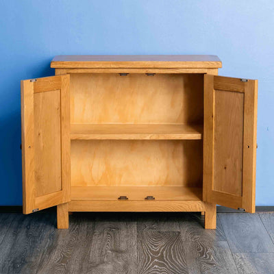 Surrey Oak Small Cupboard with doors open