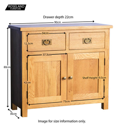 Surrey Oak Small Sideboard - Size Guide