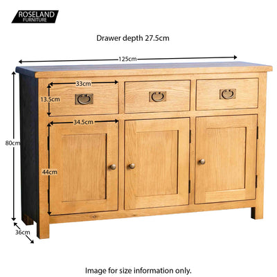 Surrey Oak Large Sideboard - Size Guide
