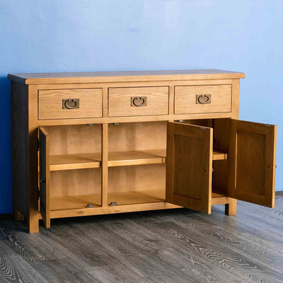 Surrey Oak Large Sideboard - Lifestyle side shot with doors open