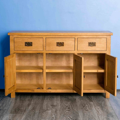 Surrey Oak Large Sideboard - Lifestyle with doors open