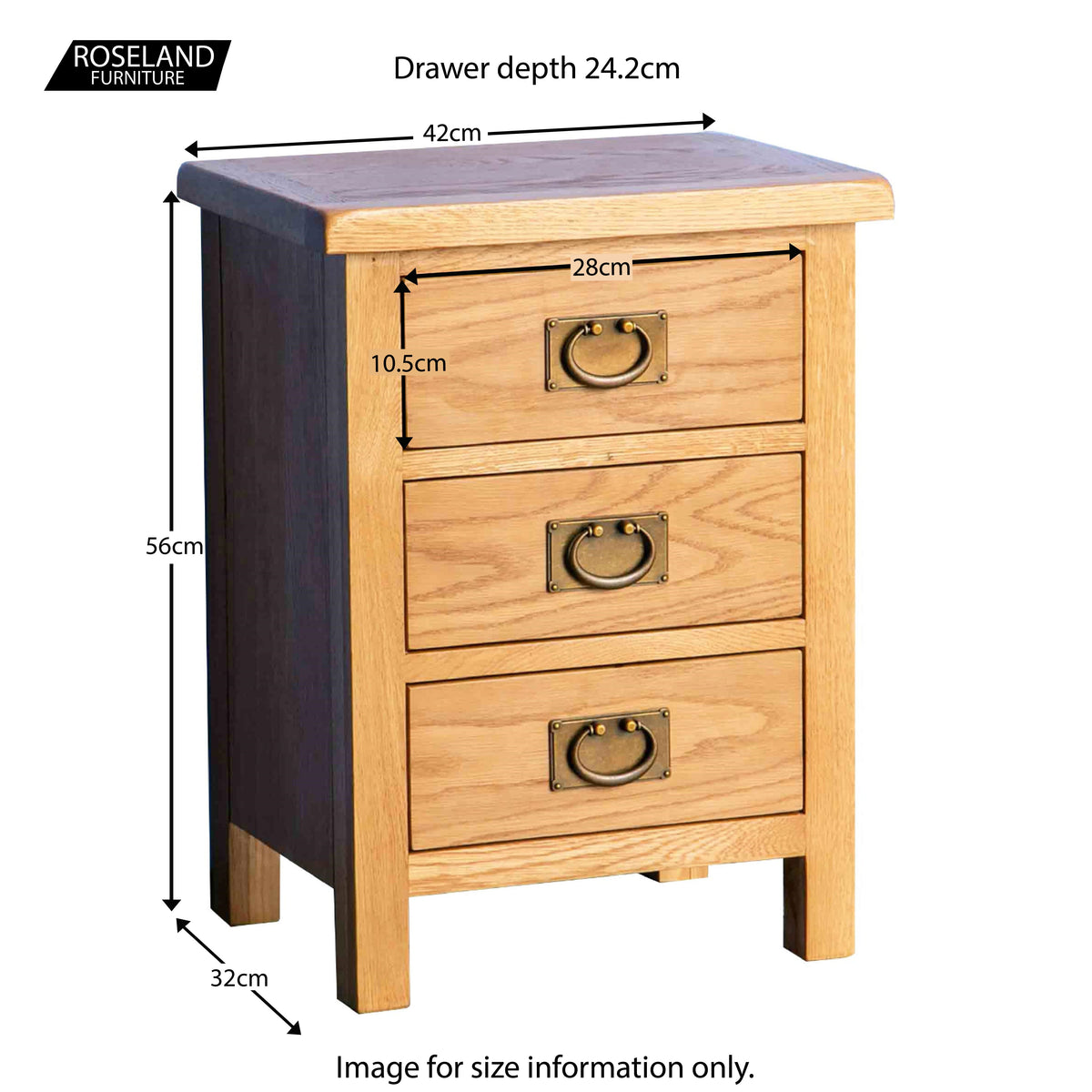 Surrey Oak Bedside Table - Size Guide