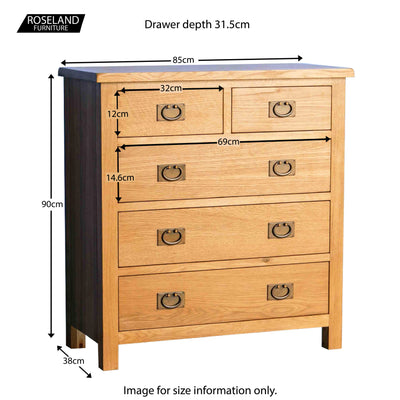 Surrey Oak 2 Over 3 Chest of Drawers - Size guide