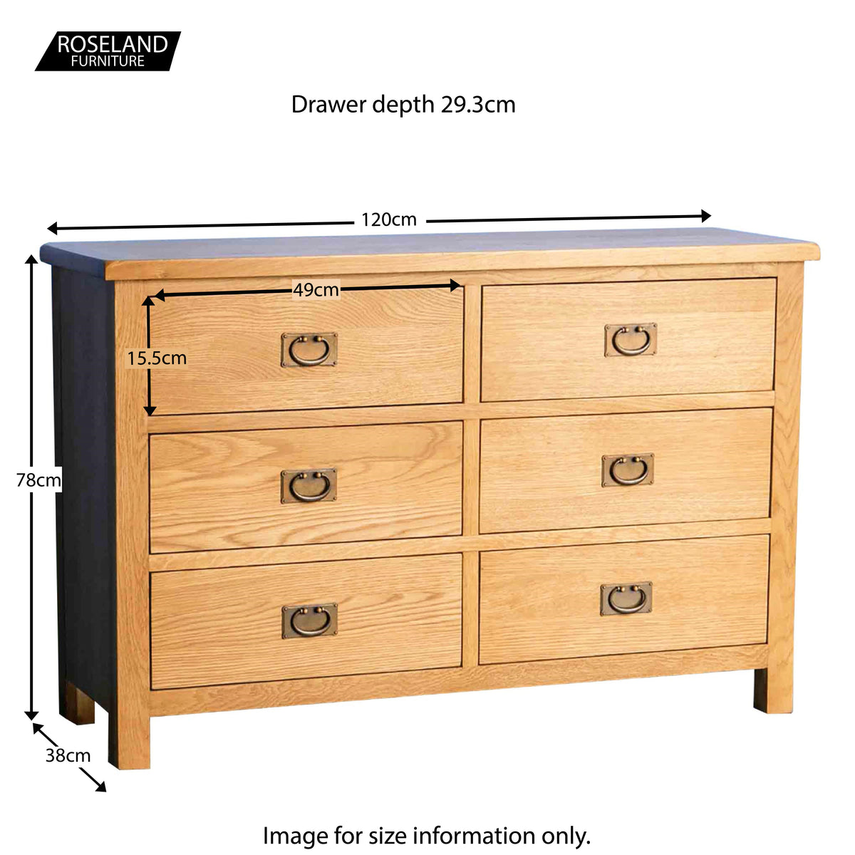 Surrey Oak Large Chest Of Drawers - Size Guide
