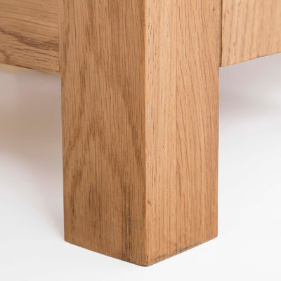 Surrey Oak 5 drawer tallboy chest of 5 drawers - Close up of foot