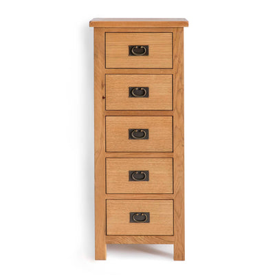 Surrey Oak 5 drawer tallboy chest of 5 drawers by Roseland Furniture
