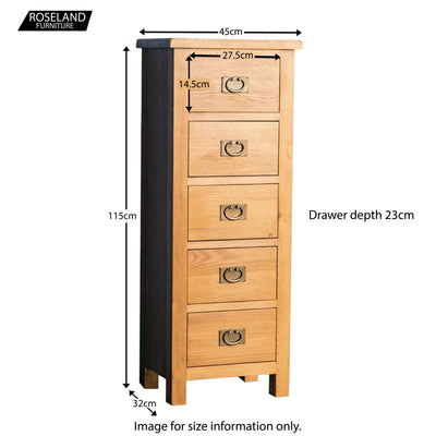 Surrey Oak 5 drawer tallboy chest - Size guide