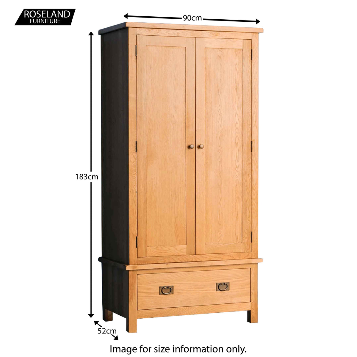 Surrey Oak 3 piece bedroom - Wardrobe Size Guide