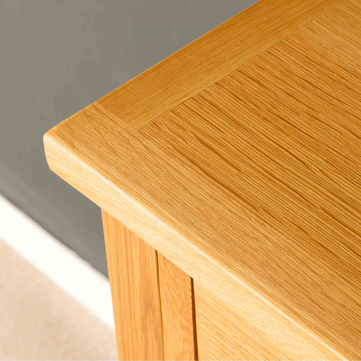 Close up of the London Oak Telephone Table by Roseland Furniture