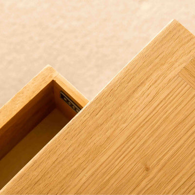 Open drawer on a London Oak Telephone Table by Roseland Furniture