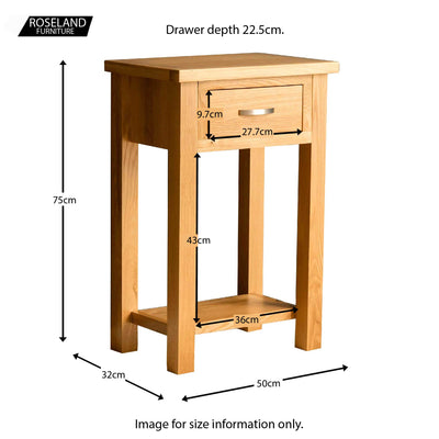 London Oak Telephone Table - Size guide